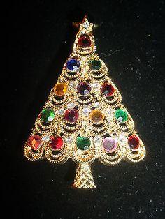 Eisenberg Ice Rhinestone Christmas Tree Pin
