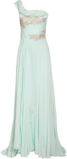 Love this: One shoulder Appliquéd Silk chiffon Gown @Lyst