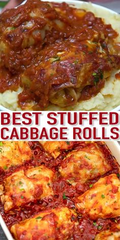 Stuffed Cabbage Rolls are hearty and tasty filled with rice ground meat and cooked in a delicious tomato-based sauce! Stuffed Cabbage Rolls are hearty and tasty filled with rice ground meat and cooked in a delicious tomato-based sauce! Vegetable Dishes, Vegetable Recipes, Salmon Recipes, Chicken Recipes, Hamburger Meat Recipes, Meat Meals, Tasty Meals, Delicious Dishes, Beef Dishes