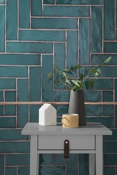 Lampas Peacock has been unveiled as Topps Tiles& Tile of the Year 2019 These ceramic wall tiles will make a big statement. Bad Inspiration, Bathroom Inspiration, Pink Tiles, Green Tiles, Colourful Bathroom Tiles, Bathroom Tile Patterns, Green Bathroom Tiles, Tile Layout Patterns, Bathroom Colours