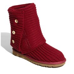 Red Ugg boots - great for freezing ankles