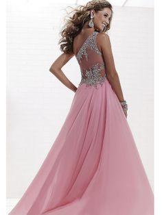 Enhancing Sequins A-line One-shoulder Neckline Transparent Back Sweep Train Prom Dress