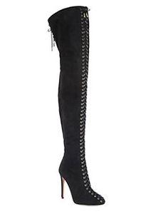 Aquazzura - Corset Over-The-Knee Suede Boots