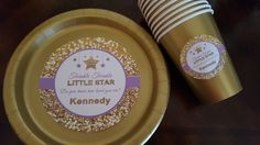 twinkle twinkle little star plates and cups in purple and gold