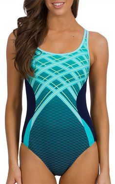 Cross Back Swimsuit - Synchronise - J1889  Athletic silhouettes showcasing sporty simplicity is one of summer's most coveted looks. Shop the trend with this cross back one-piece with clever placement print and twist of geo glamour!