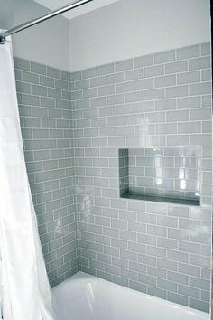 Shower niche using subway tiles Hall Bathroom, Upstairs Bathrooms, Bathroom Interior, Gray Bathrooms, Bathroom Showers, Bathroom Tubs, Bathroom Grey, Bath Tub Tile Ideas, Master Bathrooms