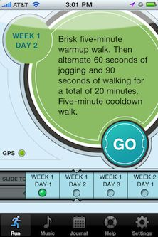 Couch 2 5k running plan app.  Goal is to do the Panther Prowl 5k in October