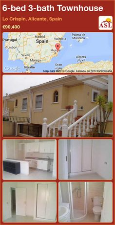 Townhouse for Sale in Lo Crispin, Alicante, Spain with 6 bedrooms, 3 bathrooms - A Spanish Life Valencia, Alicante Spain, Open Plan Kitchen, Second Floor, Townhouse, Terrace, Villa, Bathroom, Bed