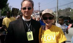 Our ministers Rev. Anthony David and Rev. Marti Keller at an anti-HB87 protest in Atlanta