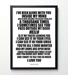 Lionel richie,hello, #poster, song lyrics #typography, art #print, a4,  View more on the LINK: 	http://www.zeppy.io/product/gb/2/271970714642/