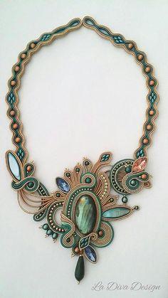 Soutache necklace glam soutache statement necklacegemstone