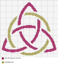 Triquatra Cross Stitch by ~alcnaurewen on deviantART--Another design. Pagan Cross Stitch, Cross Stitch Charts, Cross Stitch Patterns, Cross Stitching, Cross Stitch Embroidery, Embroidery Patterns, Wiccan Crafts, Celtic Patterns, Triquetra