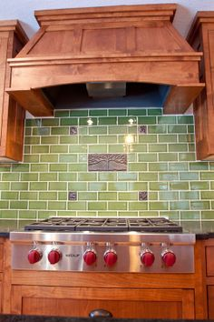 Debris Recycled Tile Series Kitchen Backsplash in Kelp at Fireclay Tile, www.fireclaytile.com - don't love the decorative features, but this in yellow for a backsplash