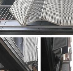Deployé folding-sliding shutters on southwest facade Metal Facade, Metal Shutters, Window Shutters, Exterior Shutters, Facade Design, House Design, Expanded Metal, Building Facade, Building Exterior