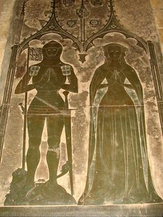Brass of Simon de Felbrigge and wife St Margaret's Church Felbrigg Norfolk  Mourning Cloak.