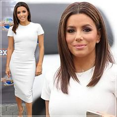 Eva Longoria Dons a Clingy Pencil Dress to Promote Her New Bedding Collection
