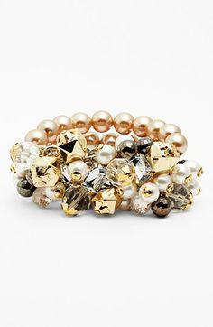 Adia Kibur Chunky Faux Pearl Stretch Bracelet available at #Nordstrom