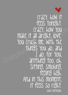 Dave Matthews song lyrics print  Crush   grey by SummerRainDesign, $9.00
