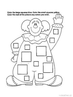 Crafts,Actvities and Worksheets for Preschool,Toddler and Kindergarten.Lots of worksheets and coloring pages. Puzzle Photo, Theme Carnaval, Coloring Books, Coloring Pages, Circus Crafts, Clown Party, Shapes Worksheets, Baby Clip Art, Baby Footprints