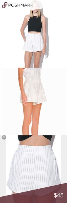FindersKeepers white with black pinstripes Excellent condition! High waisted shorts perfect for summer! Finders Keepers Shorts
