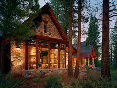 Northern California mountain retreat evokes a European country home This European-inspired mountain retreat was designed by Brink Custom Homes, located on a heavily wooded site in Lahontan, California. Cabana, California Mountains, Northern California, Stone Cabin, Haus Am See, Country House Design, Log Cabin Homes, Log Cabins, Mountain Cabins