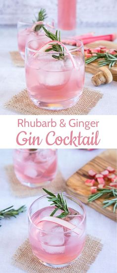 Rhubarb and Ginger Gin - A Refreshing Cocktail! Rhubarb and Ginger Gin - A Refreshing Cocktail!,Drinks Two beautiful photos of a pretty pink rhubarb and ginger gin cocktail made with homemade rhubarb and ginger infused gin. and Drink Classic Gin Cocktails, Refreshing Cocktails, Summer Cocktails, Pink Gin Cocktails, Ginger Cocktails, Cocktail Rose, Cocktail Drinks, Alcoholic Drinks, Beverages