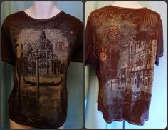Womens Plus T-Shirt Top Venice Paris 2x Brown Graphic Bling Short Sleeve Cotton #Essentials #KnitTop #Casual
