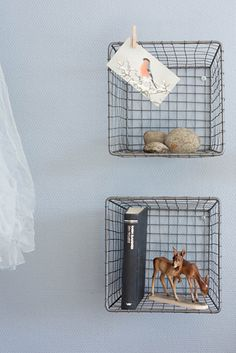 Use pretty wire baskets as shelves for bits and pieces, maybe cookbooks