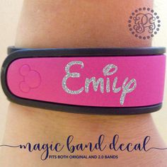 Glitter MagicBand Decal, MagicBand Name, MagicBand Sticker, Magic Band Decal, Magic Band Name, Personalized MagicBand, Disney MagicBand by YouGotPersonal on Etsy https://www.etsy.com/listing/222433205/glitter-magicband-decal-magicband-name
