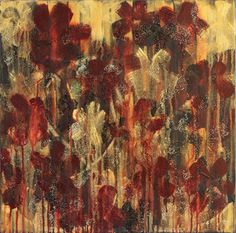 "Tegan - 20"" x 20"" Semi-Abstract Flower Painting with Red and Gold"