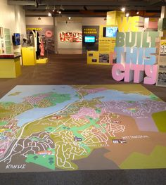 We Built This City exhibition at Pataka Art + Museum in Porirua NZ #floor map #boxes