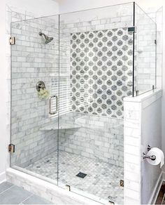 Just Pinned to Salle de bain: Beautiful bathroom renovation by the talented Katie Howlett of KMH Creative (Richmond, VA) using our Caprice Pattern. Mold In Bathroom, Bathroom Renos, Bathroom Interior, Small Bathroom, Bathroom Renovations, White Bathroom, Cream Bathroom, Colorful Bathroom, Bathroom Accents