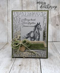 Stampin' Up! Let it Ride Flowing Fountain Sympathy Sympathy Cards, Greeting Cards, Men's Cards, Horse Cards, Crackle Painting, Stamping Up Cards, Animal Cards, Masculine Cards, Homemade Cards