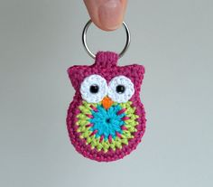 Crochet owl keychain, owl keyring, pink crochet owl key chain