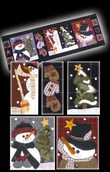 """Snowman Parade Wool Applique Wallhanging 13"""" by 37"""""""