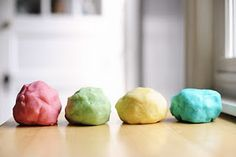 HOMEMADE PLAY DOH   1 cup flour 1 cup warm water 2 tsp. cream of tartar 1 tsp. oil 1/4 cup salt food coloring