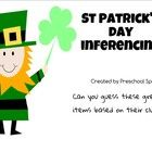 This St. Patrick's Day themed freebie includes 10 inferencing cards describing green objects. Students listen to the clues to determine which items...
