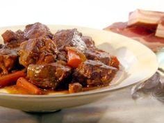Potroast - render bacon, onions in bacon fat, brown beef, deglaze with beer, braise.
