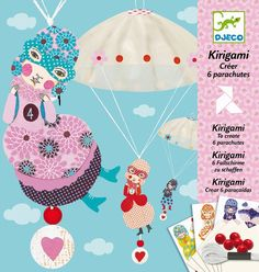 Djeco Girls Team Paper Parachutes - Kirigami Origami Paper Craft Activity Kit for Kids.  Cuteness in a box and hours of entertainment guaranteed! #papercraft #kirigami #rainbowfun #cute #kids #Djeco