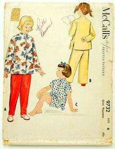 Vintage 1950s Girls Size 6 Asian Style Pajamas McCalls Sewing Pattern 9732  Complete   chest 24 waist 22 1e5e4030f