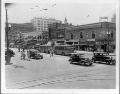 Topeka, KS, 1936. Kansas Memory. (This has to be somewhere around 10th and Kansas, judging from the trolley tracks and Capitol????)