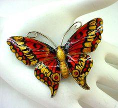 John Atkins & Sons Enamel on Sterling Silver Butterfly Brooch