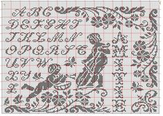 (106) Gallery.ru / Фото #161 - 1 - gabbach Cross Stitch Angels, Cross Stitch Alphabet, Filet Crochet, Needlework, Embroidery, Sewing, Cherub, Decor, Crochet Angels