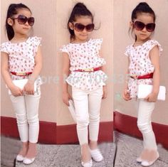 Cheap clothes for, Buy Quality fashion kids clothes directly from China kids clothes Suppliers: Europe 2016 Baby girls clothing set kids fashion clothes for summer toddler girls Floral prints lace top+white pants+belt Girls Summer Outfits, Little Girl Outfits, Little Girl Fashion, Fashion Kids, Summer Girls, Girls Dresses, Style Fashion, Fashion 2015, Jeans Fashion