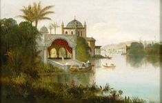 Daniel Charles Grose (American, 1838 - 1900) 'View of an Indian palace beside a river'