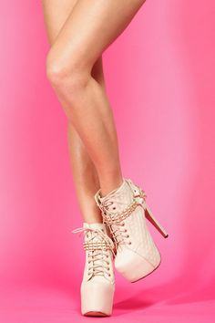 Glaze Cream Quilted Lace Up Platform Booties