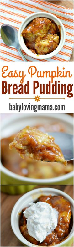 Easy Pumpkin Bread Pudding Recipe: Try this AWESOME bread pudding recipe and discover how simple it is to make bread pudding with brown sugar sauce!