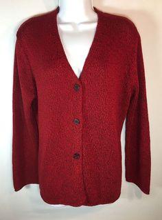 Women's AMANDA SMITH Red Black Acrylic Tweed Heavy V Neck Cardigan Large L #AmandaSmith #Cardigan