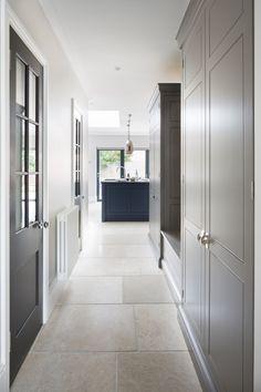 hallway flooring How to design a boot room - Contemporary Spenlow Kitchen, Essex - Humphrey Munson Kitchen Doors, Kitchen Tiles, Kitchen Flooring, Kitchen Design, Room Kitchen, Kitchen Units, Hall Flooring, Limestone Flooring, Travertine