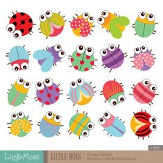 Cute bugs Clipart and Digital Paper Set by pixelpaperprints Insect Clipart, Card Tags, Cards, Diy And Crafts, Paper Crafts, Mothers Day Crafts For Kids, Mandala Design, Doodle Art, Painted Rocks